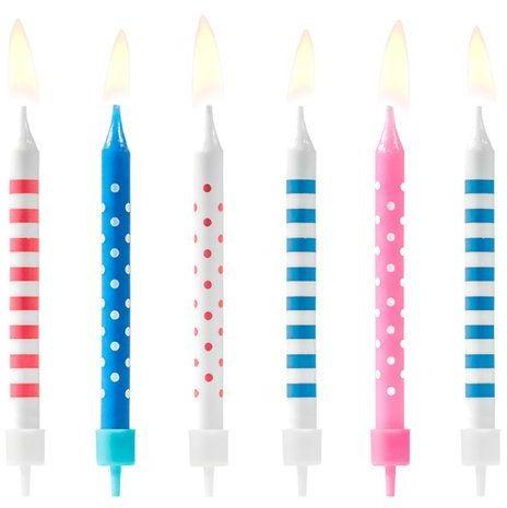 Świeczki urodzinowe w kropki i paski 6szt SCP-3