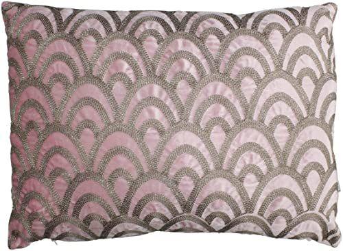 Ozdobna poduszka z wypełnieniem - aksamit - różowa - 40 x 60 cm