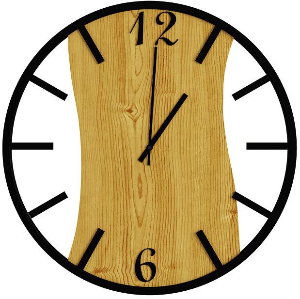 Nowoczesny sosnowy zegar ścienny - Solaris