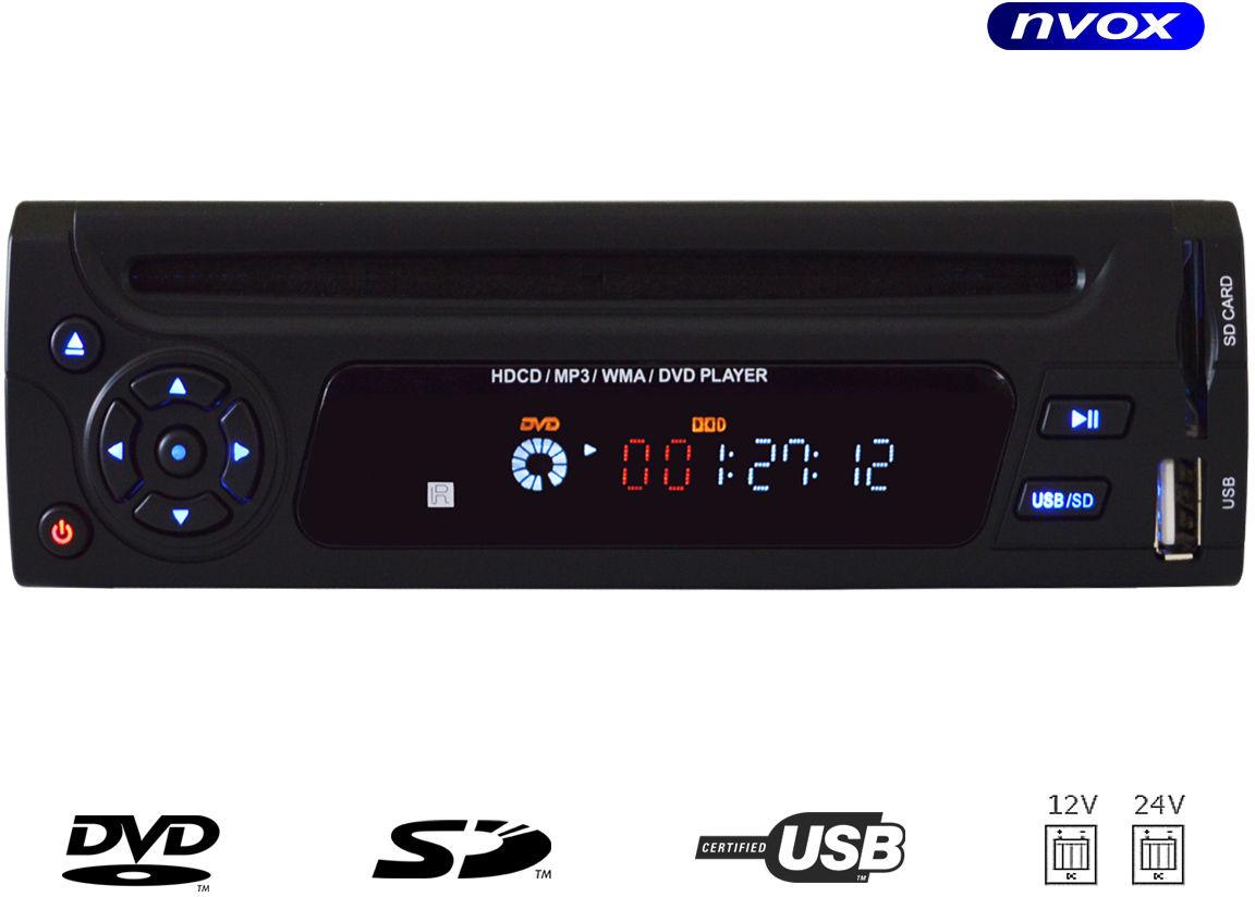 Samochodowy odtwarzacz dvd divx 3/4din usb sd 12v 24v