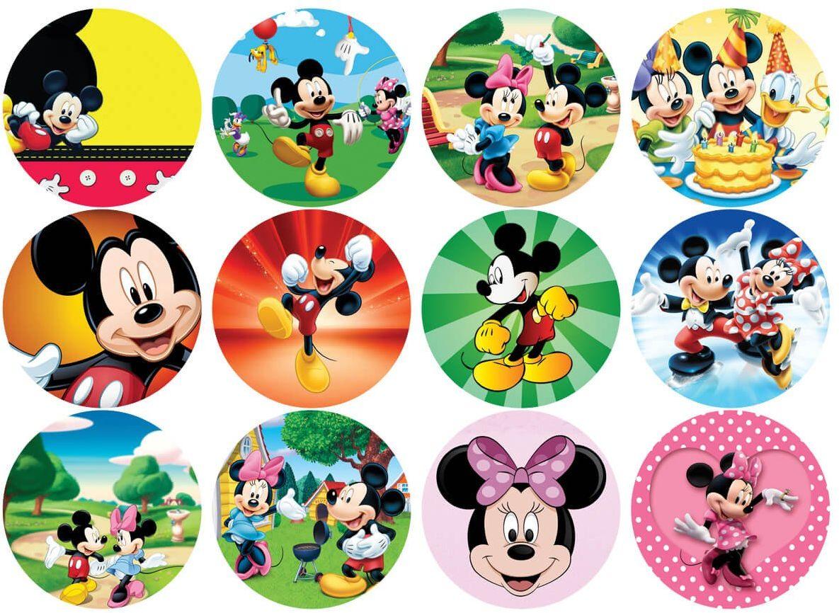 Opłatki na muffiny babeczki Myszka Mickey i Minnie