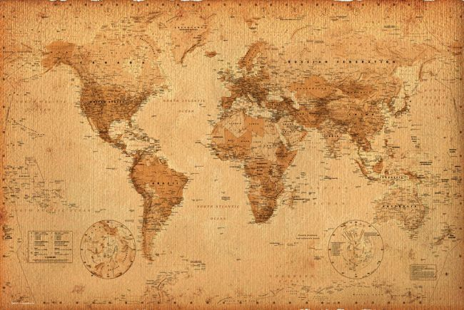 Mapa świata w starym stylu - plakat