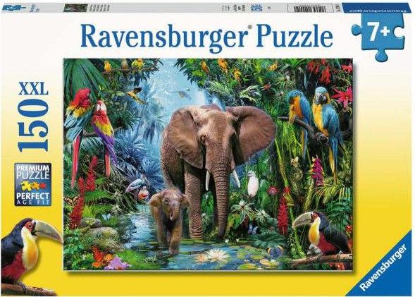 Ravensburger - Puzzle Słonie w dżungli 100 elem. 129010