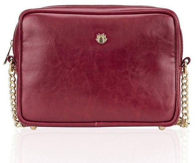 Skórzana torebka listonoszka Felice Gold FG03 bordowa - Nie mieszcząca A4 bordowy