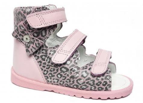 Bartek 81803/86803/0 - RAS sandały, sandałki profilaktyczne dziewczęce z obcasem Thomasa - róż panterka