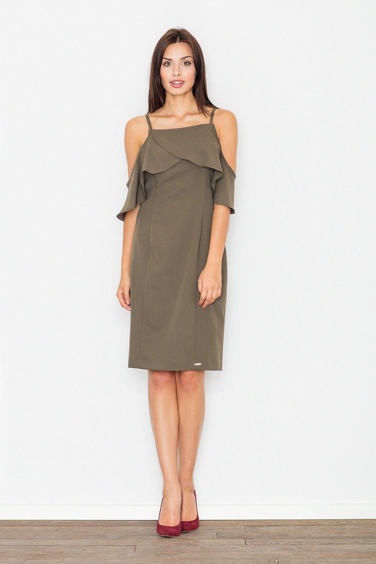 Elegancka oliwkowa sukienka mini z falbanką przy dekolcie