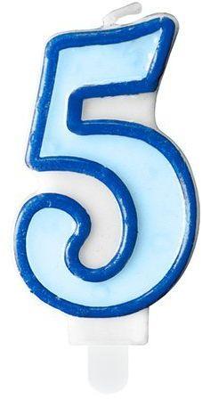 Świeczka cyferka 5 niebieska SCU1-5-001