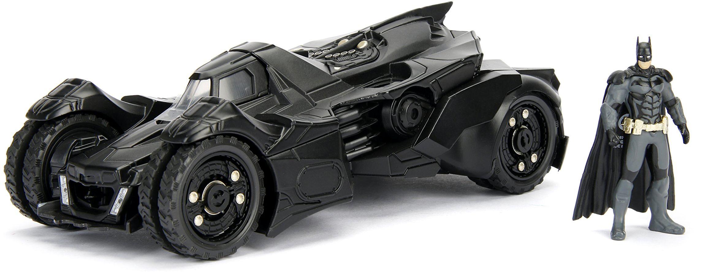 Jada Toys 253215004 Arkham Knight Batmobil, samochód, zabawkowy samochód z Die-cast, drzwi do otwierania, wraz z figurką Batmana, skala 1:24, czarny