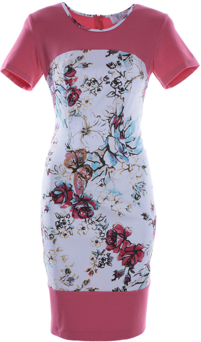 Sukienka FSU608 SELEDYNOWY CIEMNY + RÓŻOWY CIEMNY