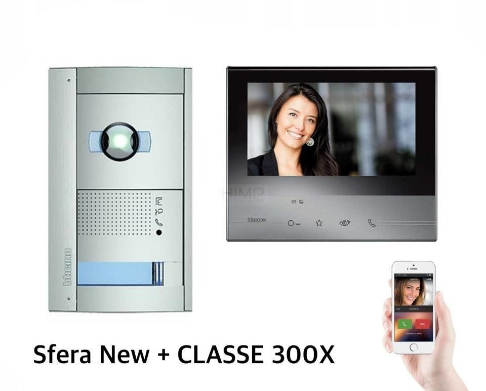 Zestaw wideodomofonowy jednorodzinny czarny SFERA New z kamerą DZIEŃ-NOC Bticino 365811B