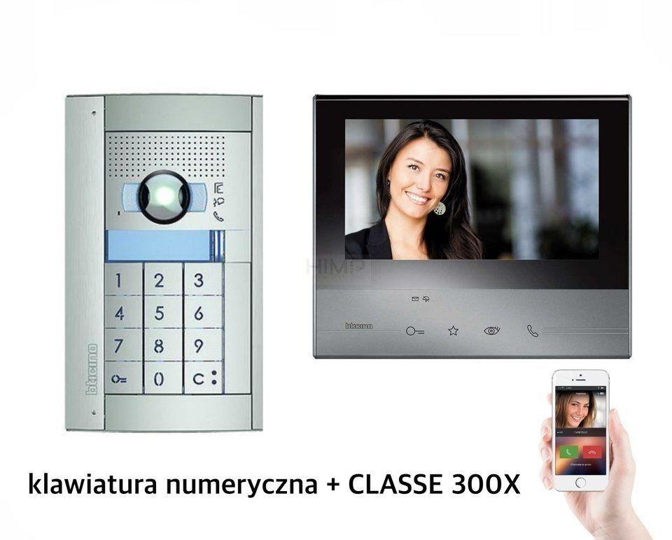 Zestaw wideodomofonowy czarny Classe 300X13 z WiFi klawiatura numeryczna + Panel SFERA New Bticino 365911B