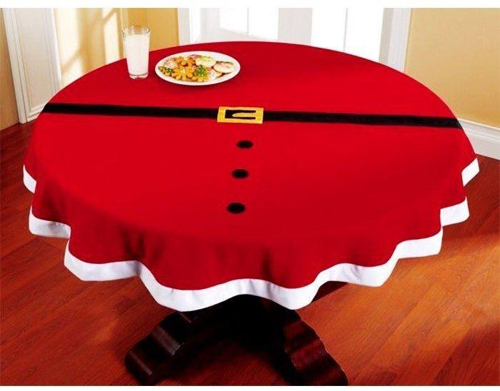 Okrągły obrus świąteczny Pas Mikołaja na Boże Narodzenie - 144 cm - 1 szt.