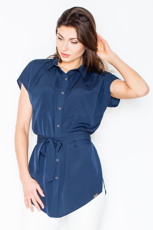 Granatowa koszulowa tunika z krótkim rękawem z wiązanym paskiem
