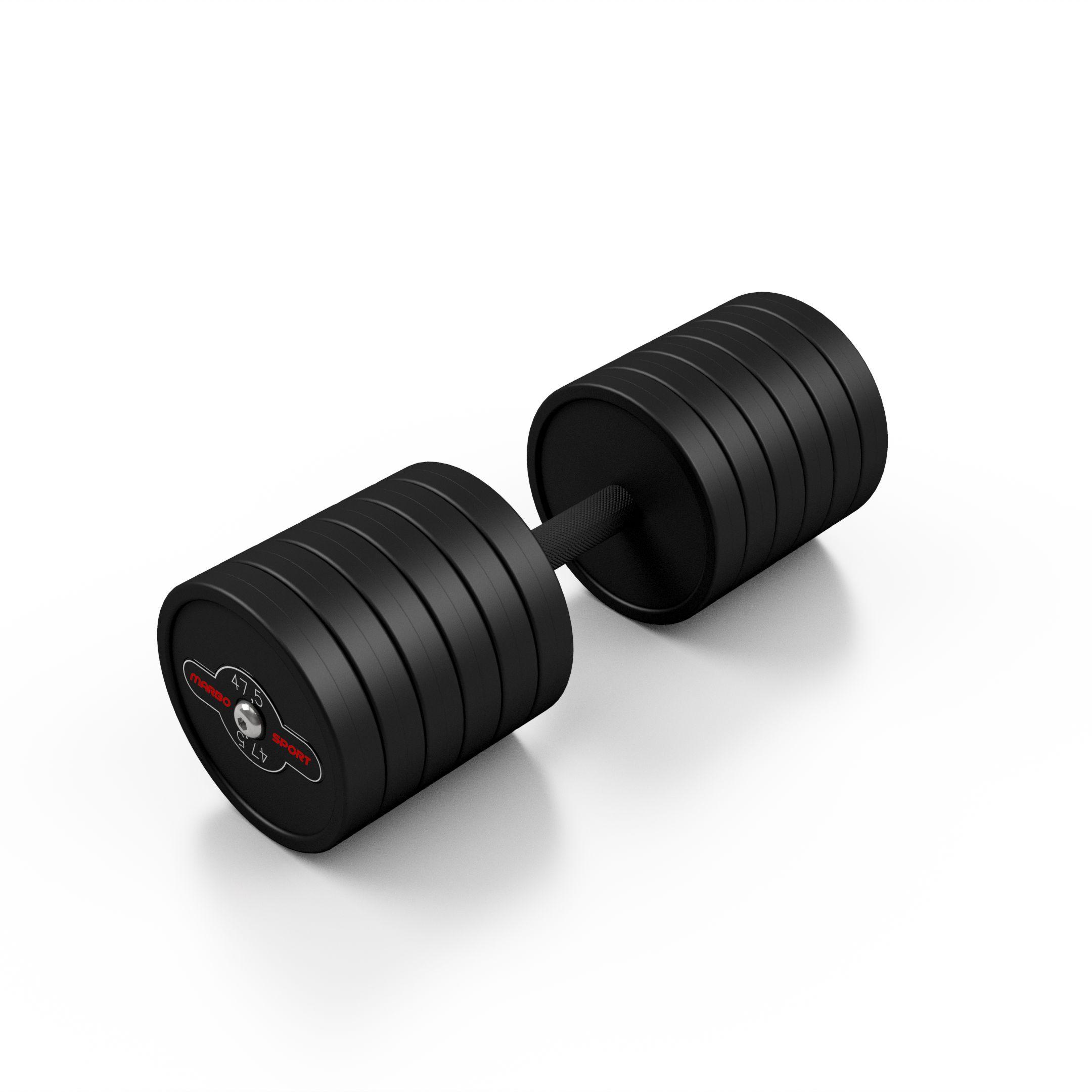 Hantla stalowa gumowana 47,5 kg czarny mat - Marbo Sport - 47,5 kg