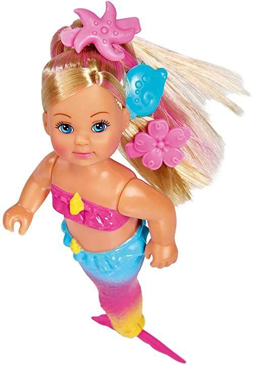 Simba 105733318 Evi Love Swim Syrenka / ''Evi the Syrenka'' / Can Swim / With FishFigure / Lalka do przebierania się / 12 cm dla dzieci od 3 lat