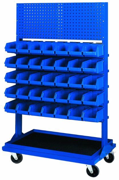 Stojak z kratownicą i 5 listwami na 35 pojemników P3 (jednostronny) P-5-01-02