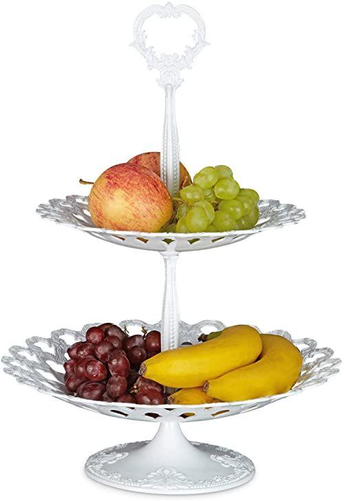 Relaxdays metalowy stojak do serwowania w 2 poziomach 44 x 31 x 31 cm talerz do serwowania deserów taca na owoce odlewana aluminiowa dwa poziomy do owoców, ciasteczek i przekąsek, biały