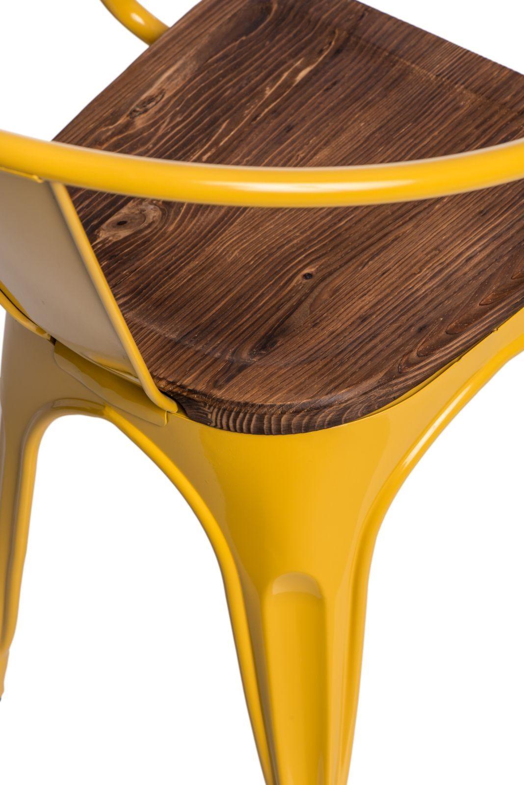 D2 Krzesło Paris Arms Wood żółty sosna