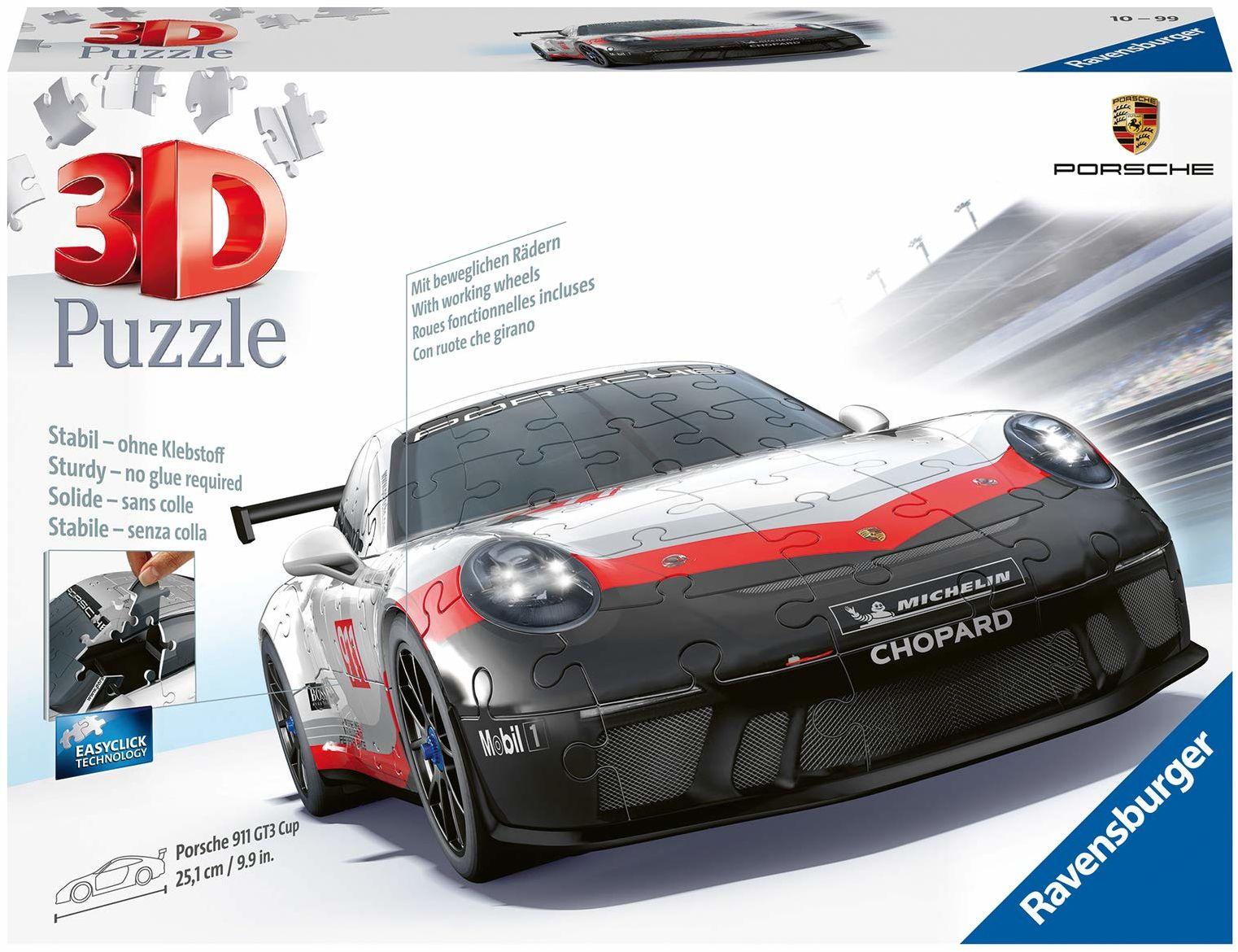 Ravensburger Puzzle 3D 11147 Ravensburger Porsche Gt3 Cup 108 Elementów Puzzle 3D Pojazdy (11147) Dla Dzieci I Dorosłych. Technologia Easy Click - Każdy Element Pasuje Idealnie