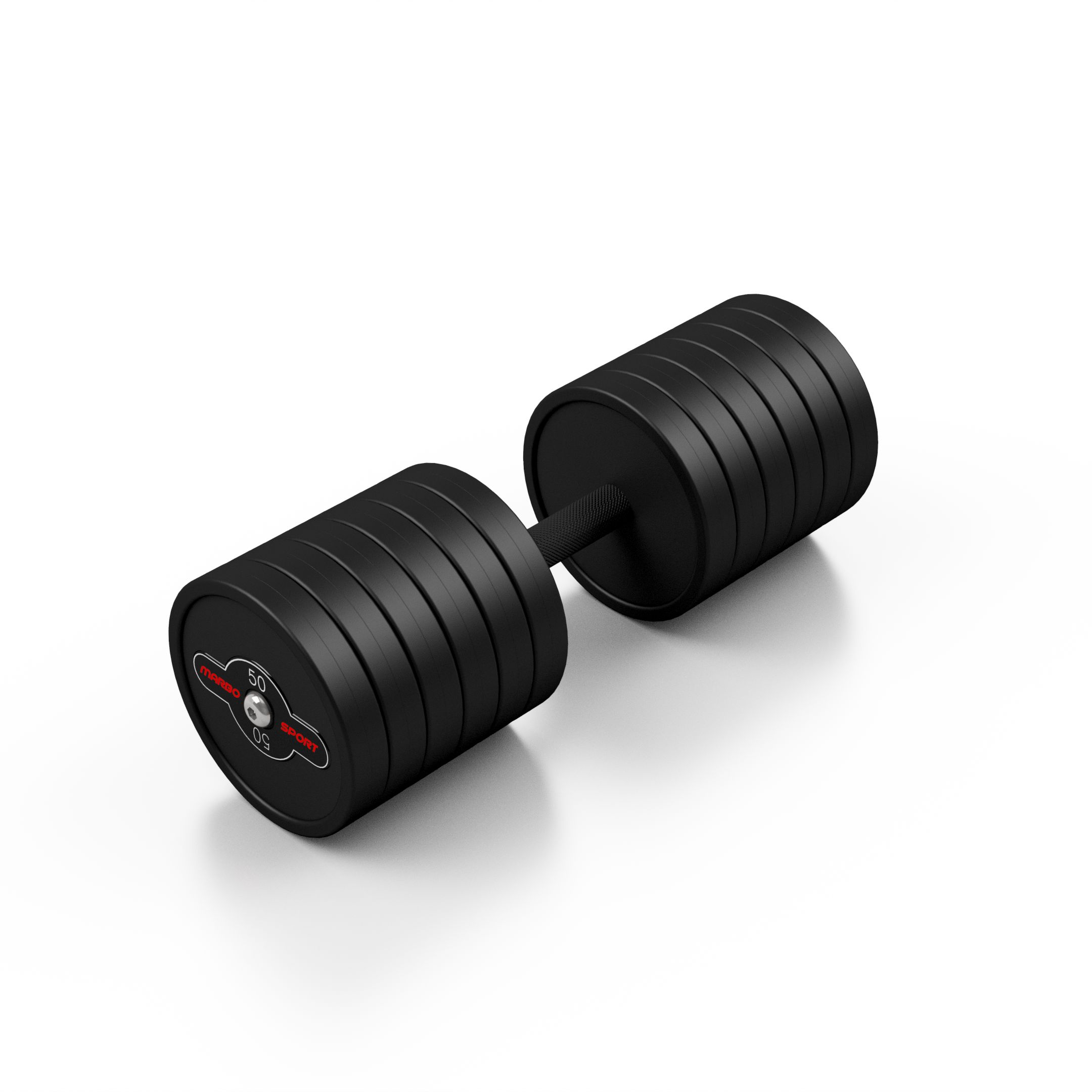 Hantla stalowa gumowana 50 kg czarny mat - Marbo Sport - 50 kg