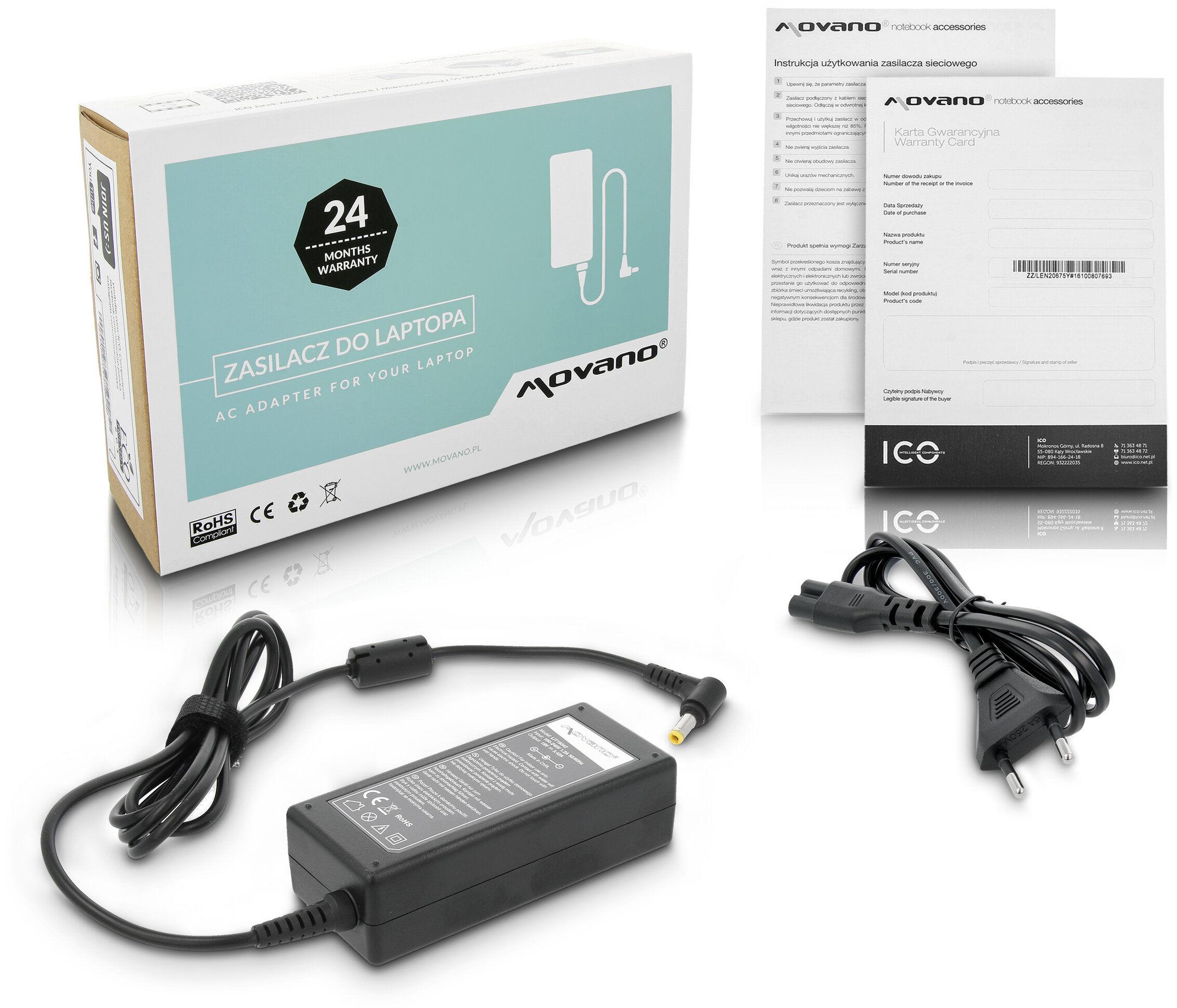 Zasilacz sieciowy do Acer Asus Dell Fujitsu Lenovo Toshiba i innych 19V 3.42A (2.5x5.5) Movano
