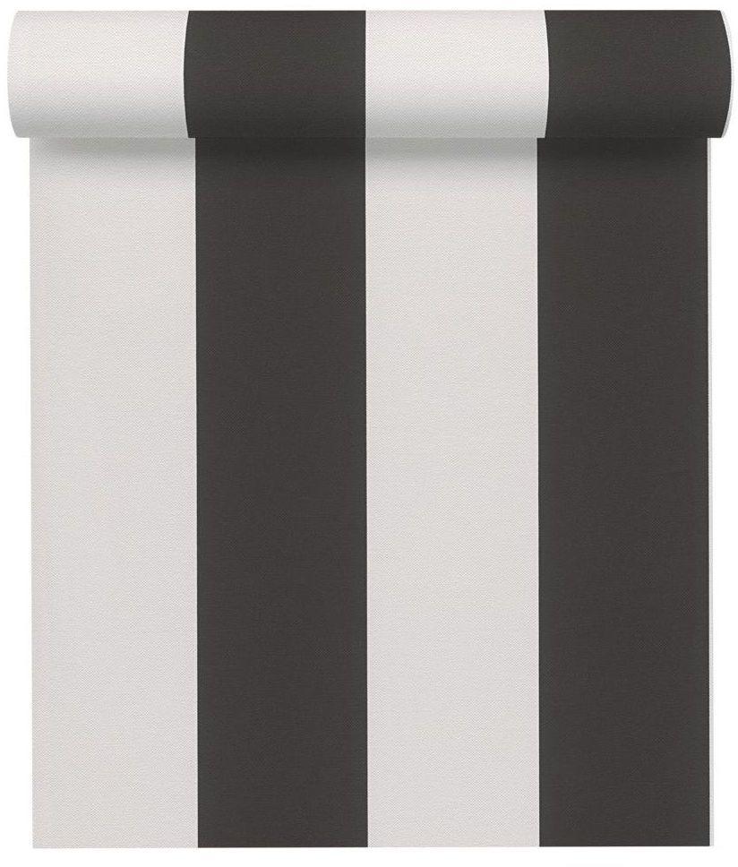 Tapeta w pasy Elegance biało-czarna winylowa na flizelinie