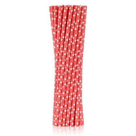 Słomki papierowe czerwone w groszki 6x197 mm / op. 250 szt