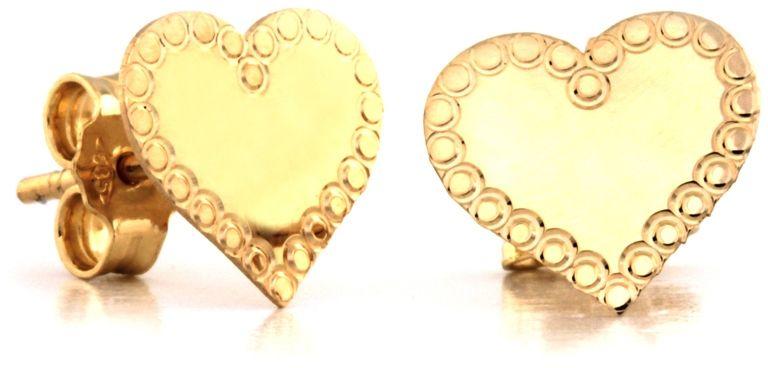 Złote kolczyki 585 Serce celebrytki serduszka fraz
