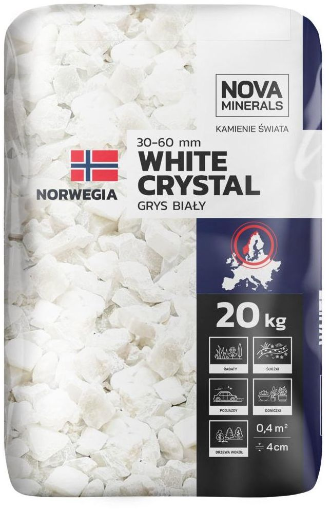 Grys WHITE CRYSTAL 20 kg 30 - 60 mm biały NOVA MINERALS