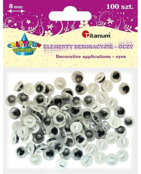 Oczy - guziki bez rzęs 8mm okrągłe 100szt - Titanum