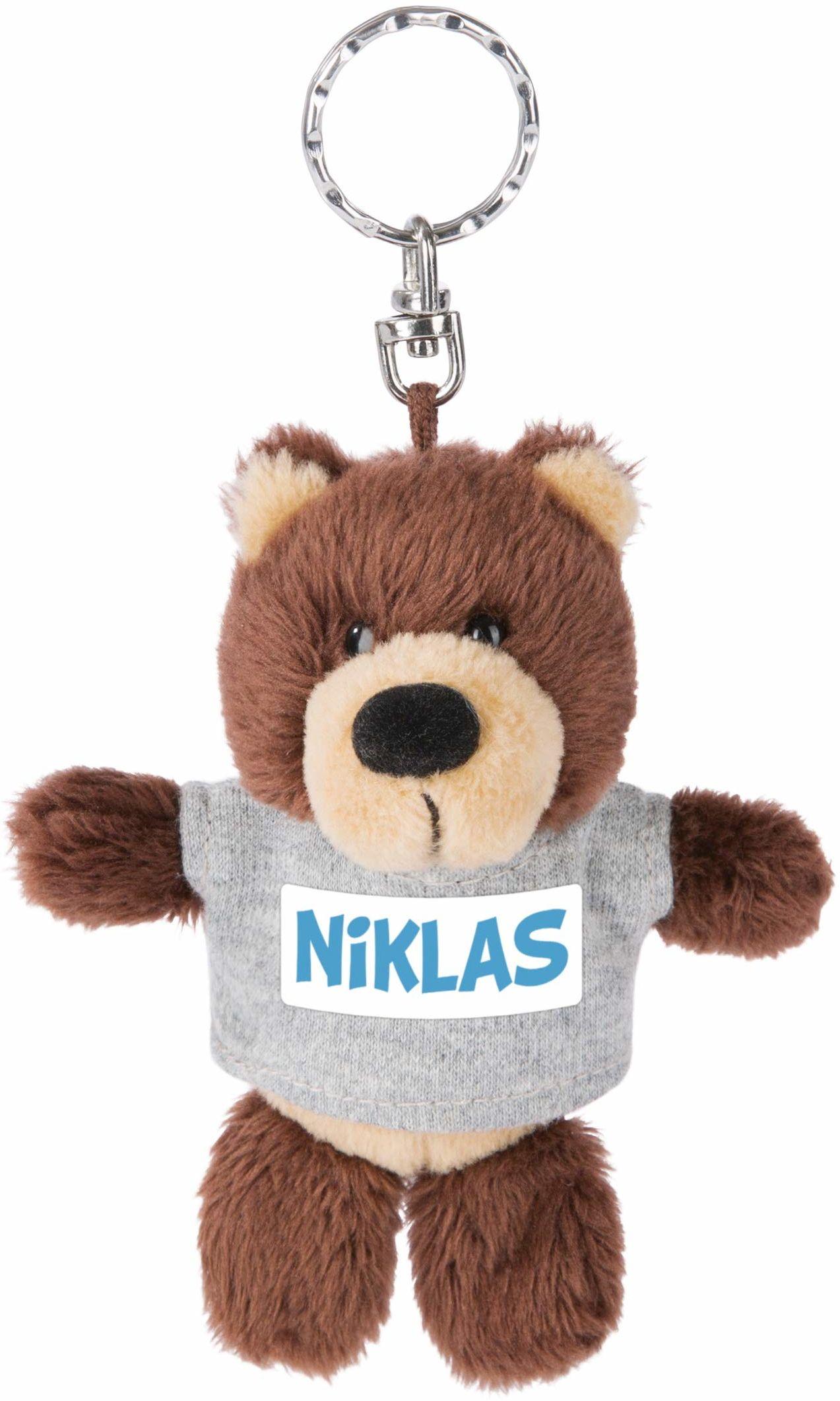 NICI 44690 breloczek do kluczy niedźwiedź z T-shirtem Niklas 10 cm, brązowy