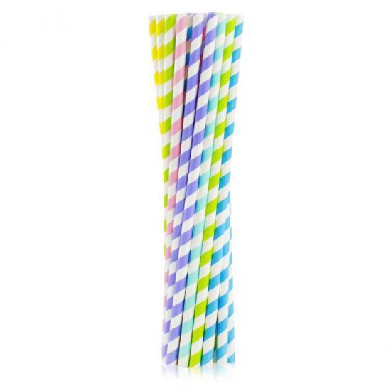 Słomki papierowe SHAKE mix kolorów 8x252 mm / op. 200 szt