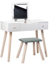 Toaletka biała ASTRID lustro 2 szuflady + taboret