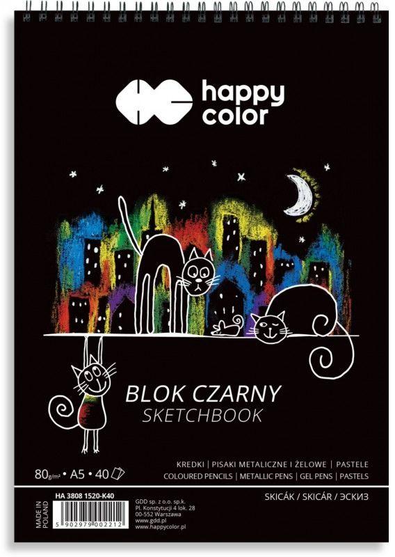 Blok czarny na spirali KOTY A5, 40 ark, 80g, Happy Color HA 3808 1520-K40