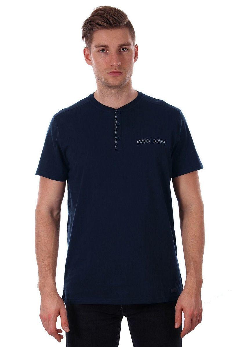 Granatowy T-shirt Męski z Kieszonką i Zapinaniem na Guziki, Krótki Rękaw, Just Yuppi, Koszulka TSJTYUP9216kol3GRANAT