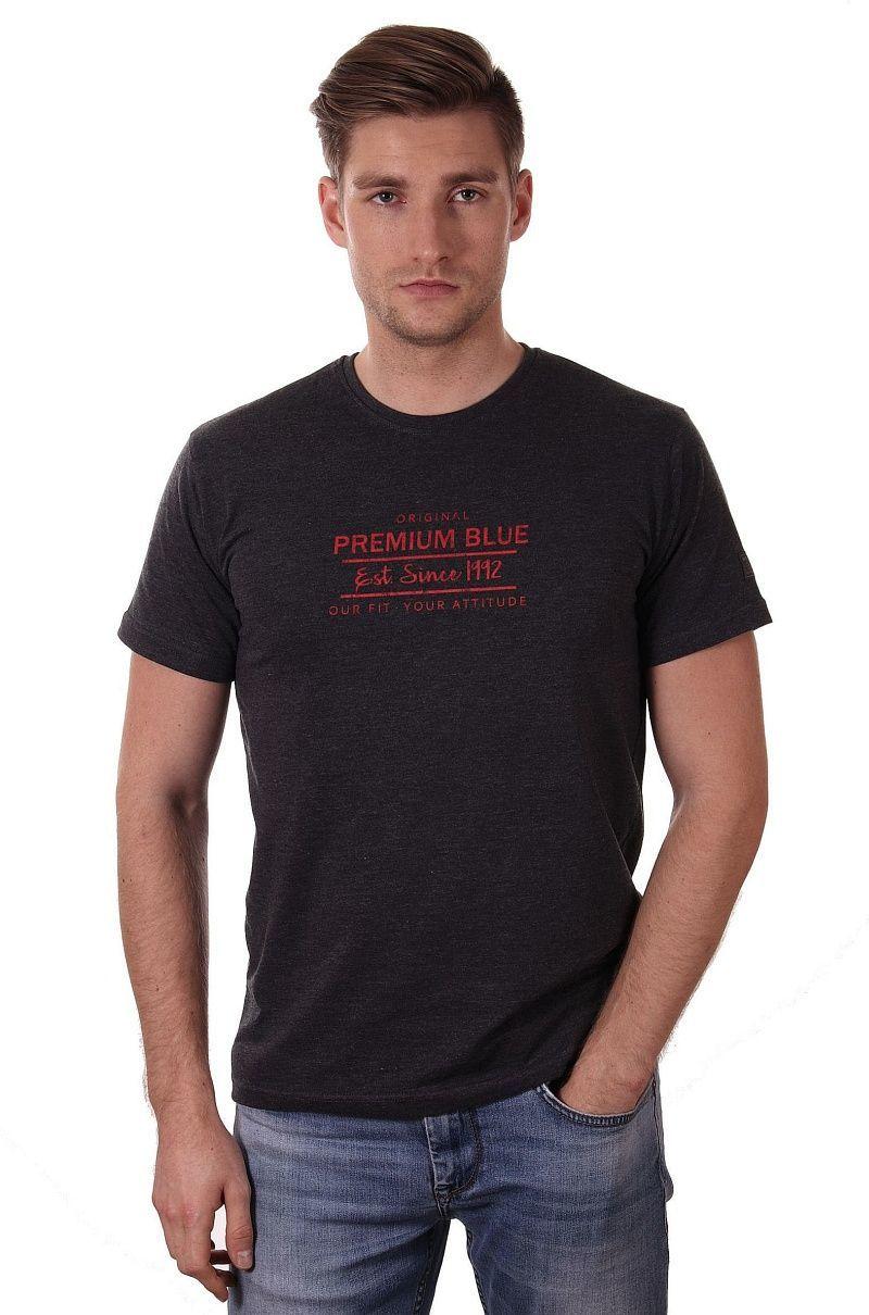 Grafitowa Koszulka Męska z Nadrukiem, Krótki Rękaw, Just Yuppi, Melanżowy T-shirt w Czerwone Napisy TSJTYUP9005kol6GRAFIT