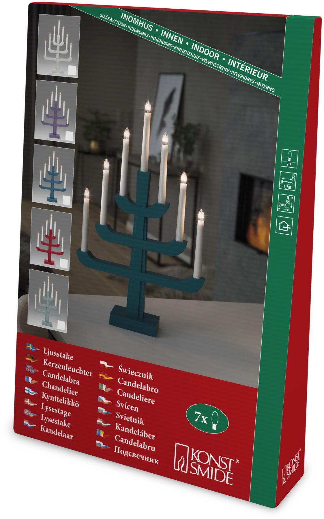 Konstsmide 3586-510 drewniany świecznik, lakierowany na czerwono/do wnętrz (IP20) / 7 przezroczystych żarówek / 230 V wewnątrz/biały kabel
