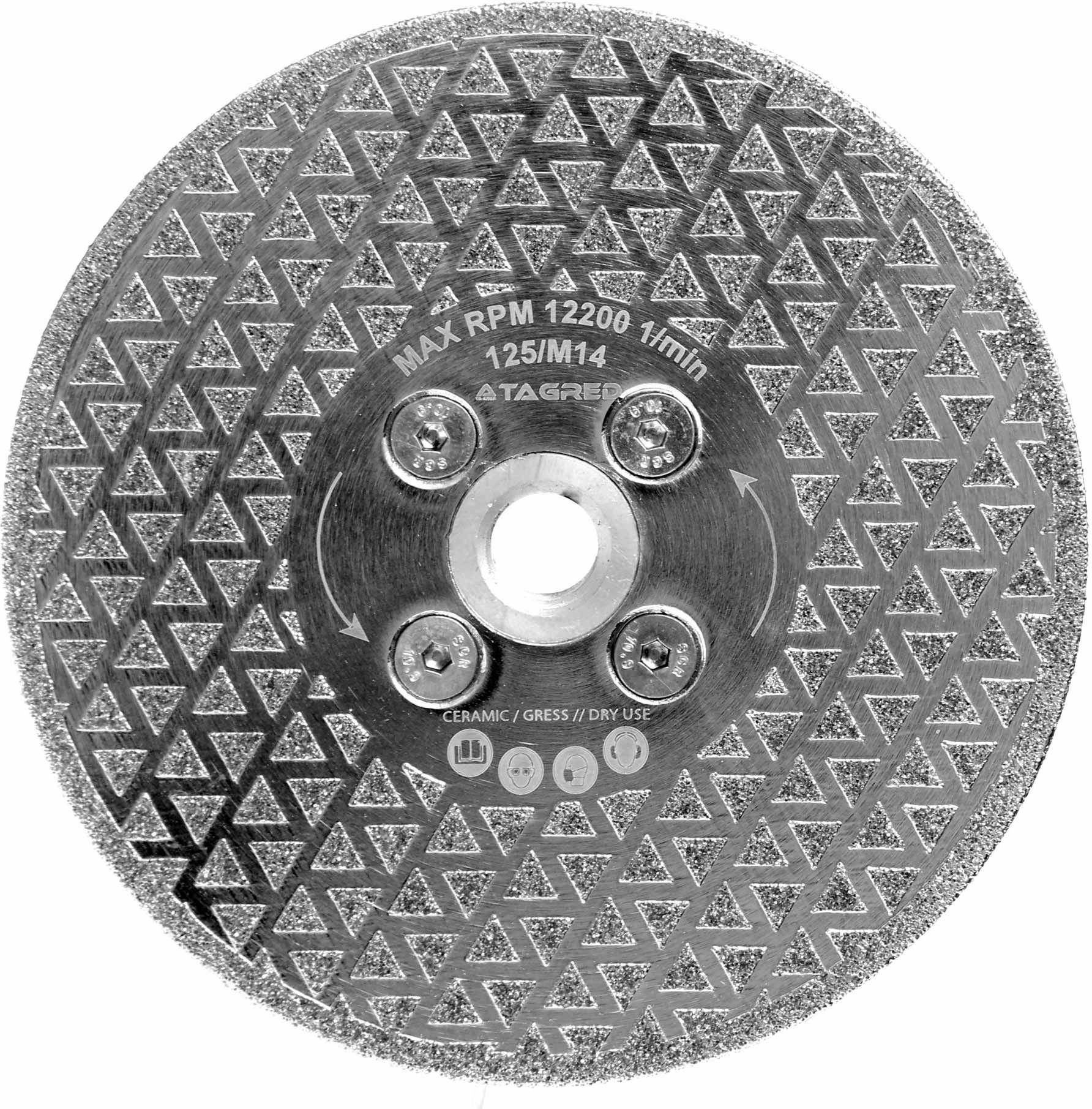 Tarcza diamentowa 2w1 do cięcia, szlifowania płytek, fazowania kamienia, gresu, ceramiki na sucho 125mm M14