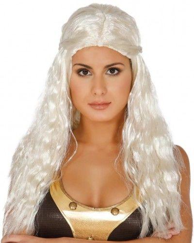 Peruka damska, Wojownicza Księżniczka, Rusałka, białe, długie włosy