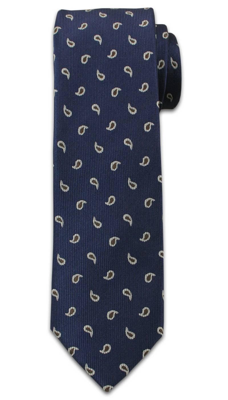 Modny Krawat Męski. Wzór Paisley, Nerka - Chattier, Granatowo-Brązowy KRCH0949