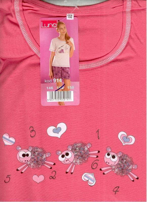 Piżama damska młodzieżowa 914 rozmiar 146 Malina Luna +2 pary spodenek
