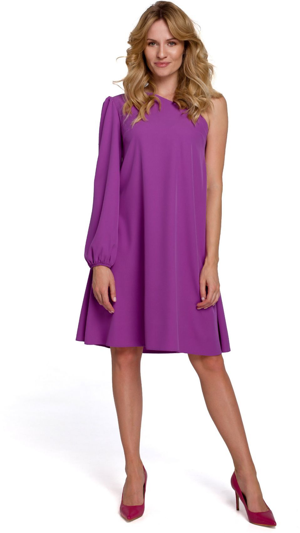 K081 Sukienka na jedno ramię - lawendowa