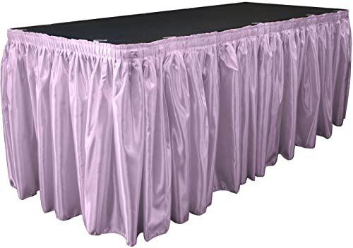 LA Linen Satynowa spódnica stołowa dla panny młodej 53 cm na 79 cm z 10 klipsami l, liliowa, szerokość stóp na długość 75 cm