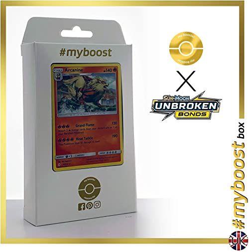 Arcanine 22/214 Holo - #myboost X Sun & Moon 10 nieuszkodzonych połączeń - pudełko 10 angielskich kart pokemon