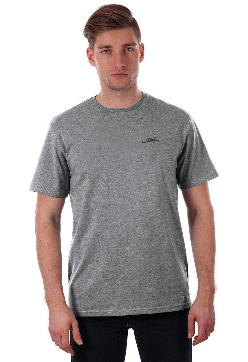 Szary T-shirt Męski, Krótki Rękaw, Just Yuppi, Popielata Koszulka z Logo, Melanż TSJTYUP1339kolSZARY