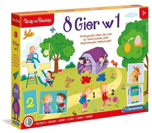 8 gier w 1 Clementoni kształty kolory liczby ilości logika pamięć
