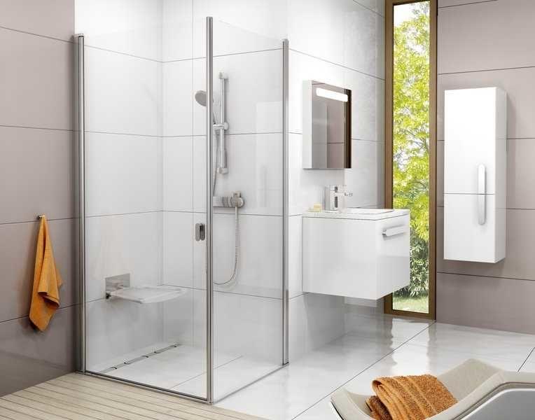 Kabina prysznicowa prostokątna Ravak Chrome drzwi 80x ścianka 90 cm CRV1+CPS , wys. 195 cm, Polerowane aluminium+Transparent 1QV40C01Z1/9QV70C00Z1