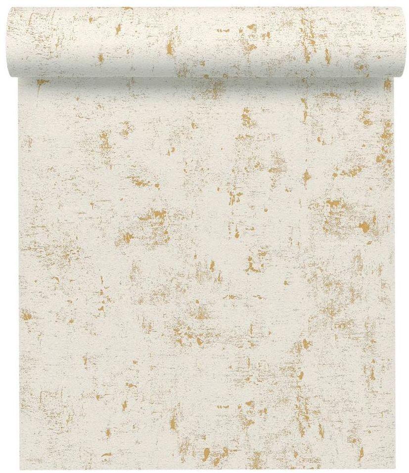 Tapeta Einfach biało-złota na flizelinie
