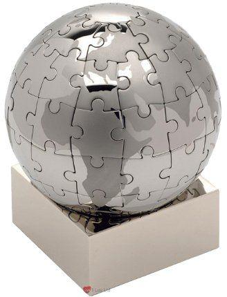 eBuyGB przycisk do listów/ozdoba biurka, design globusa, pudełko na prezent, papier, kolor srebrny