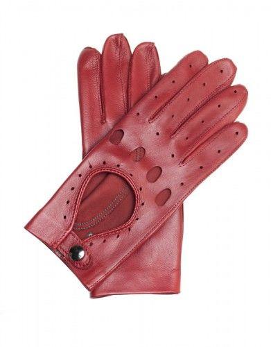 Czerwone rękawiczki całuski damskie - skóra nappa